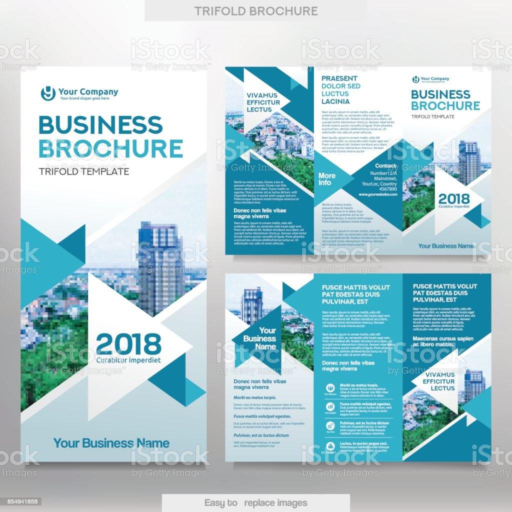 Business Brochure Template in Tri Fold Layout. векторная иллюстрация