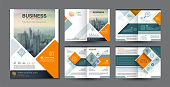 Business brochure template square design and graphic a4 scale, blue green and orange color theme, icon with symbol element, vector illustration