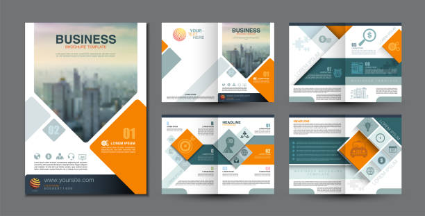 stockillustraties, clipart, cartoons en iconen met business brochure template - flyer