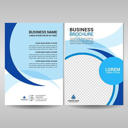 Business brochure template with blue circles