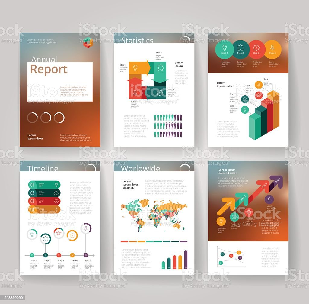 Business brochure template with infographics vector art illustration