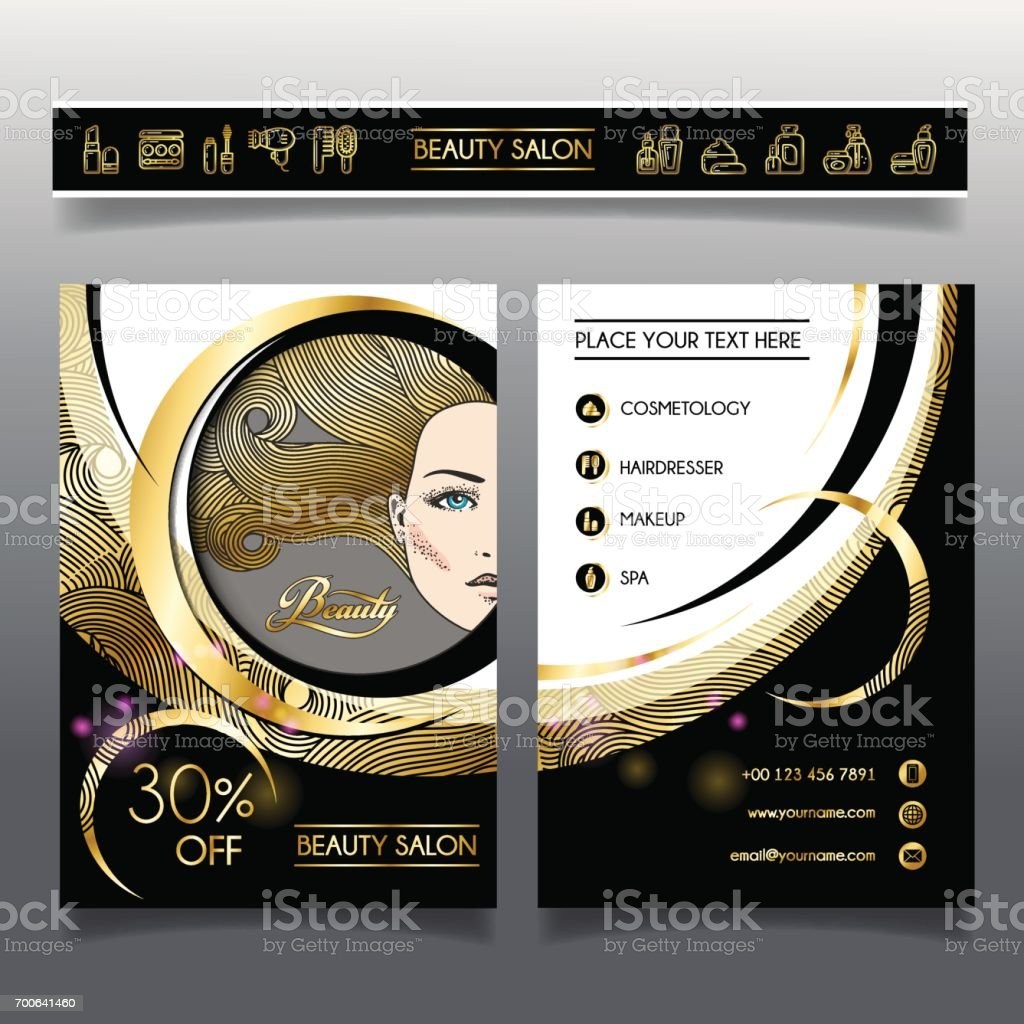 Business brochure-template for beauty salons and hairdressing_1 vector art illustration