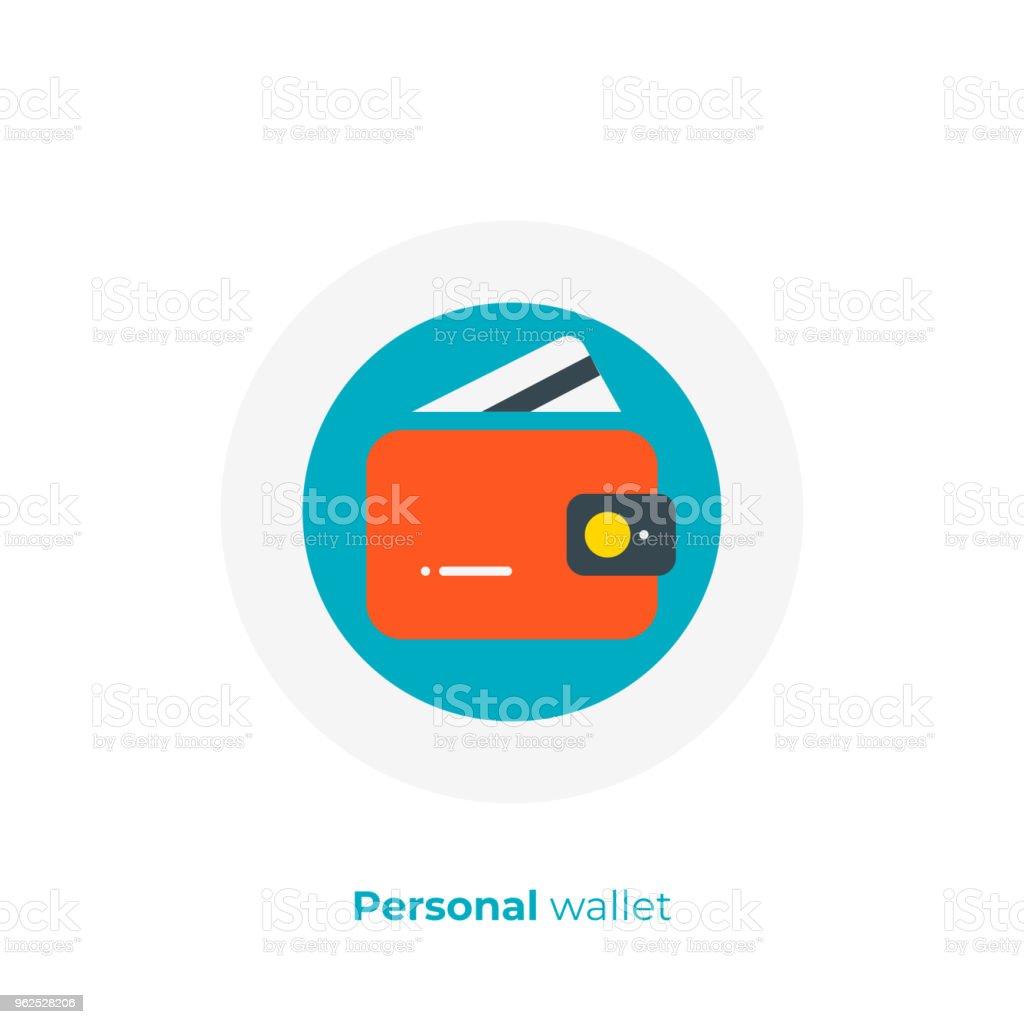 Orçamento de negócio plano ícone da arte, arte de vetor de carteira pessoal, cartoon ilustração de conta de banco online - Ilustração de Aberto royalty-free