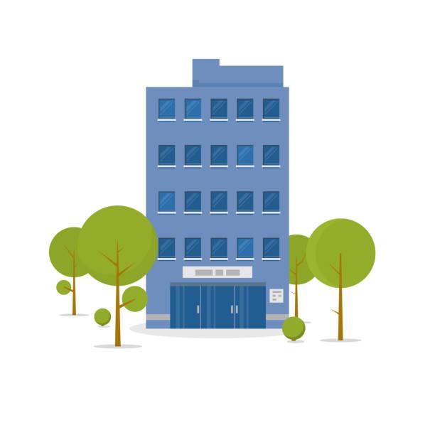 ilustrações, clipart, desenhos animados e ícones de ilustração de edifício comercial - arranha céu