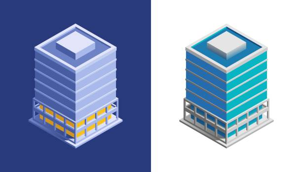 Business Building Isometric view at exterior of a modern building, represented in different color variations. financial building stock illustrations