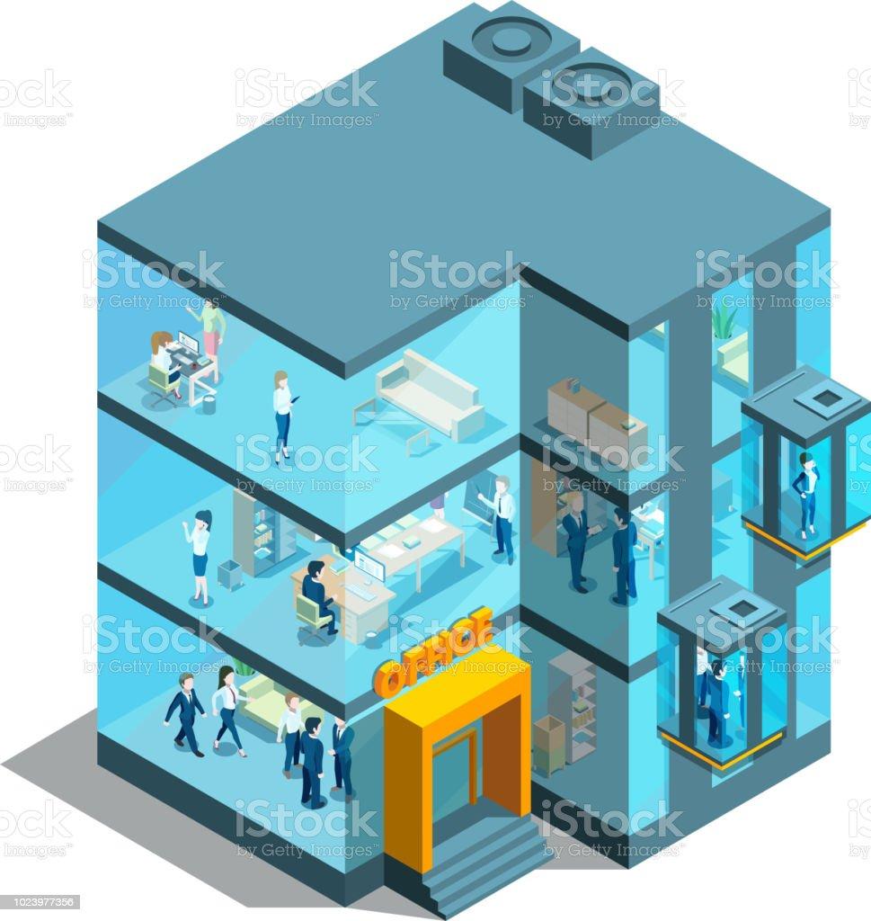 Edificio con ascensores y las oficinas de cristal del negocio. Ilustración 3d isométrico vector arquitectura ilustración de edificio con ascensores y las oficinas de cristal del negocio ilustración 3d isométrico vector arquitectura y más vectores libres de derechos de aire libre libre de derechos