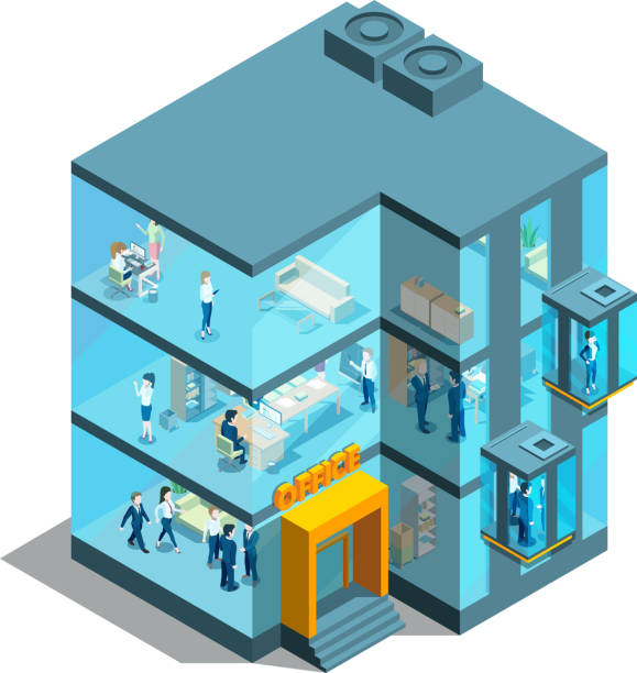 Business building with glass offices and elevators. Isometric architectural vector 3d illustration Business building with glass offices and elevators. Isometric architectural vector 3d illustration. Office glass business, architecture building facade modern interior stock illustrations