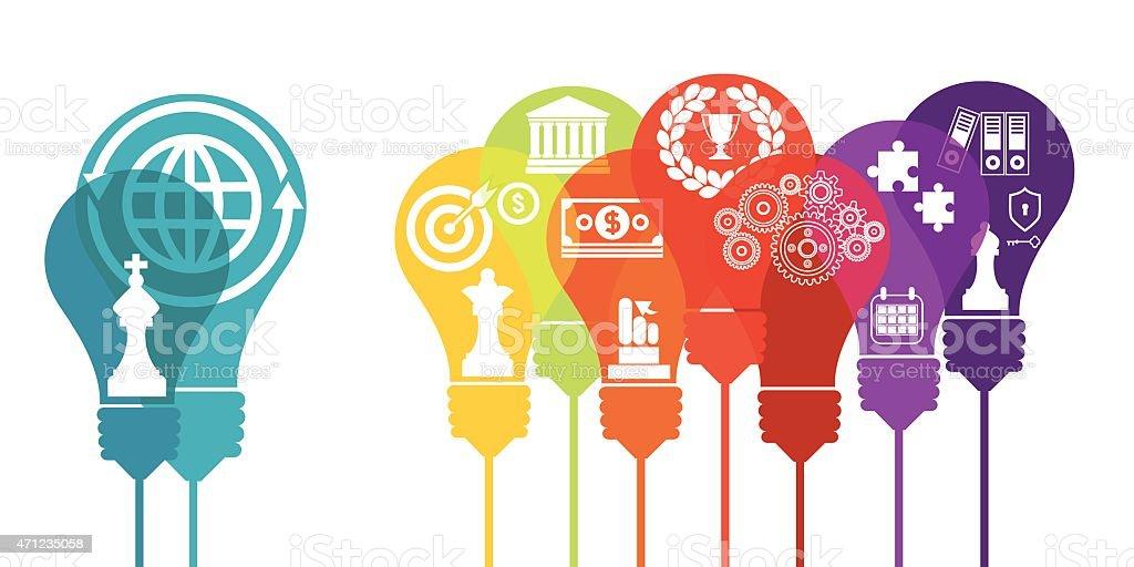 Business bulbs and finance vector art illustration