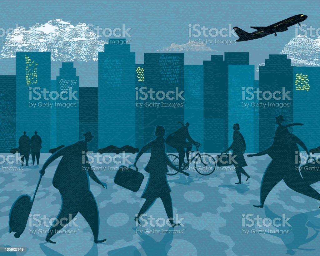 Business bustling rush hour cityscape vector art illustration