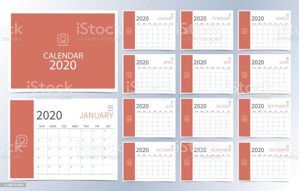 Calendario Mensual Imprimir.Ilustracion De Calendario De Negocios 2020 Orange Calendario Mensual