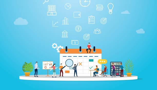 ilustraciones, imágenes clip art, dibujos animados e iconos de stock de concepto de calendario de negocios con personas del equipo que trabajan junto con calendarios muy grandes - vector - zoom meeting