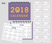 Set of business american calendar for desk year 2018 with 12-month isolated pages with funny cartoon dog on  the cover. Isolated calendar year 2019 and year 2018. English language. Week starts on Sunday. eps 10