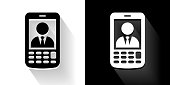 Business Call Black and White Icon with Long Shadow. This 100% royalty free vector illustration is featuring the square button and the main icon is depicted in black and in white with a black icon on it. It also has a long shadow to give the icons more depth.