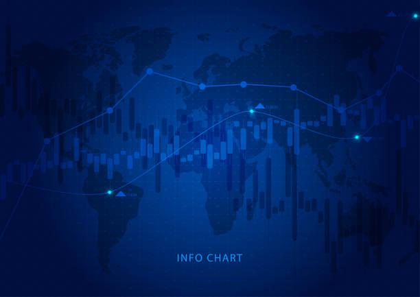 Graphique à bougies affaires de bourse trading sur design fond bleu. Tendance graphique - Illustration vectorielle