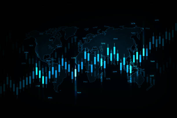 business candle stick graph chart of stock market investment trading, bullish point, bearish point for business and financial concepts, reports and investment. vector illustration - dane giełdowe stock illustrations
