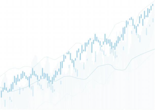 ilustrações, clipart, desenhos animados e ícones de gráfico gráfico de castiçais de negócios da negociação de investimentos no mercado de ações, ponto de alta, ponto de baixa. tendência de design vetorial gráfico. - economia