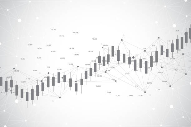 business candle stick graph chart of stock market investment trading ackground design. stock market chart. bullish point, trend of graph. vector illustration - dane finansowe stock illustrations