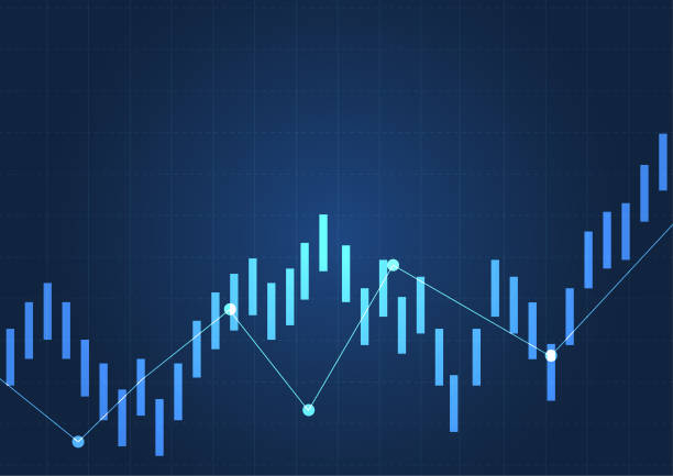 Business candle stick graph chart of stock market investment trading. Financial chart with up trend line graph, Trend of graph. Vector illustration vector art illustration