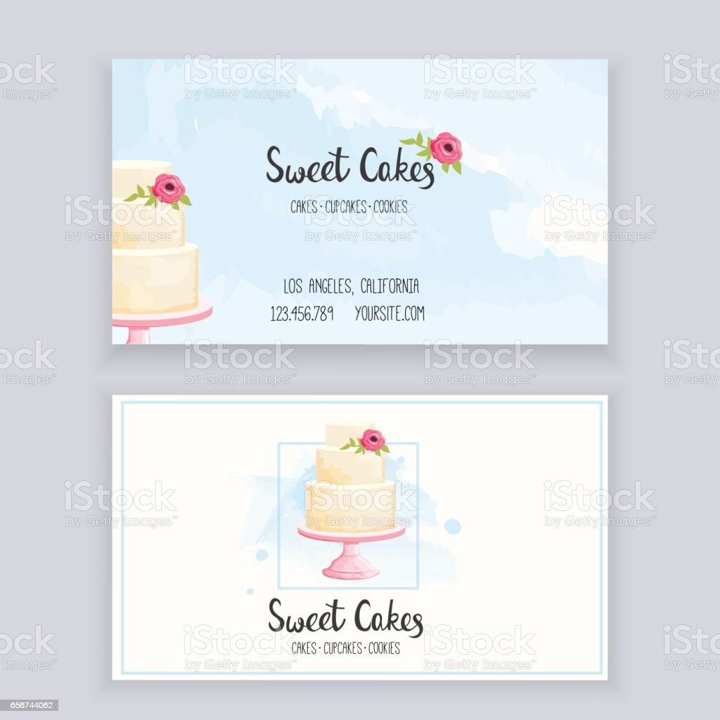 Business card bakery vector art illustration