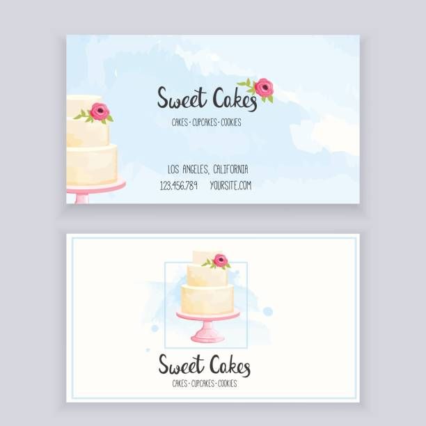 Business card bakery Business card template for bakery with lettering and watercolor style elements. Vector illustration. wedding cake stock illustrations