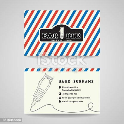 istock Business card - Barber shop and hair clippers sign vector design 1319954380