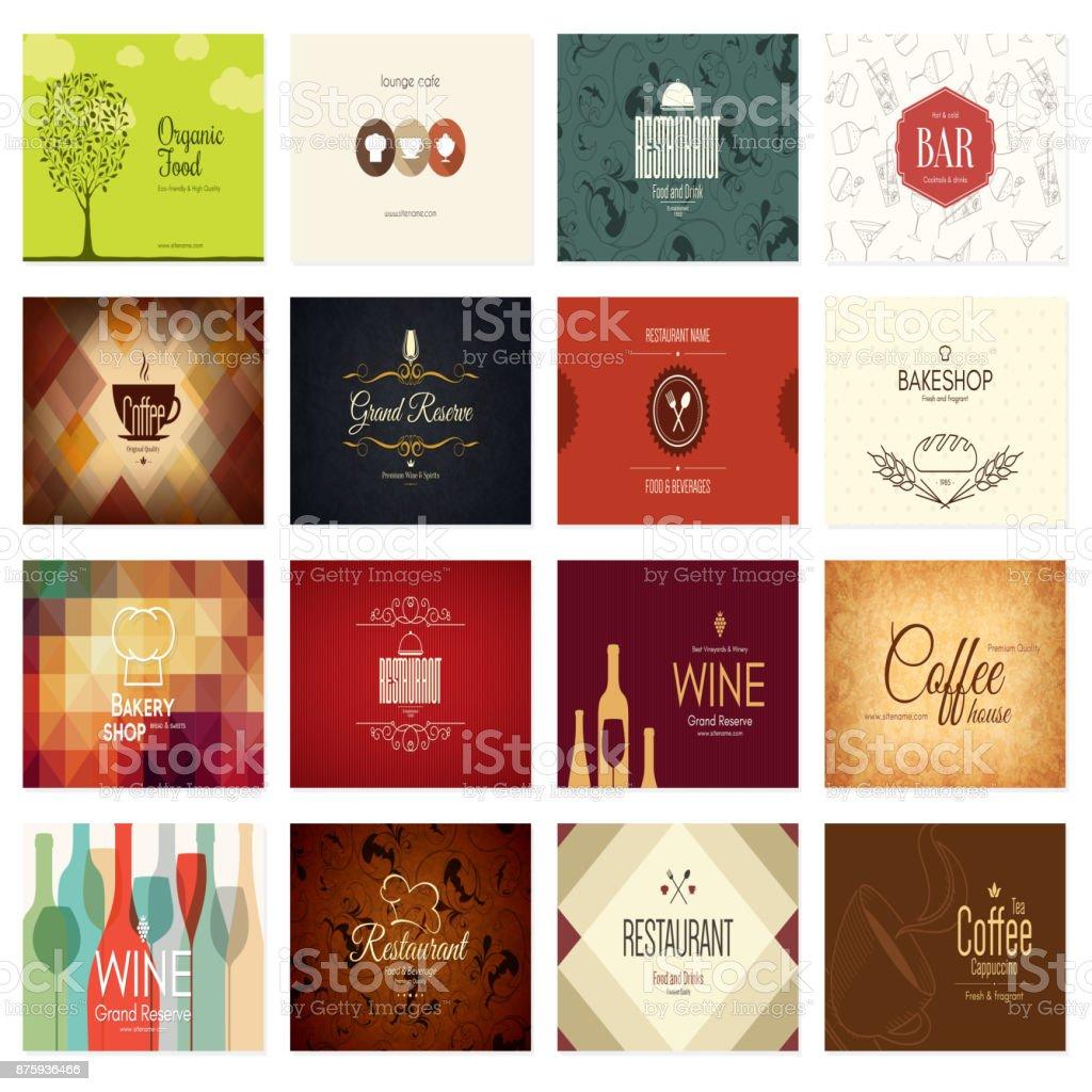 Business Card Big Set 16 Bright Visiting Cards Stock Vector Art ...