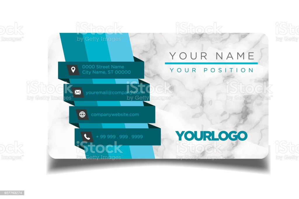 Business Card Blue Ribbon Marble Background Vector Image Stock ...