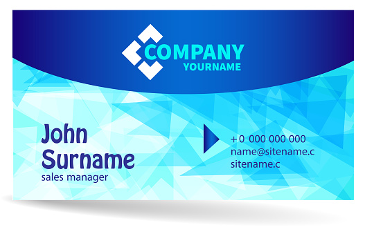 Business card – bright design with light blue background of chaotically moving triangles.
