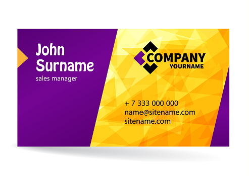 Business card bright design with yellow background of chaotically moving triangles.