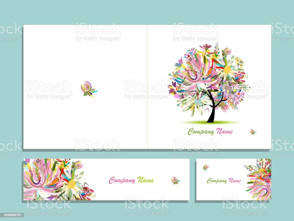 Business Card Collection Abstract Floral Tree Design Stock Vector ...