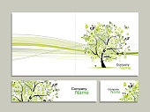 Business card collection, abstract floral tree design. Vector illustration