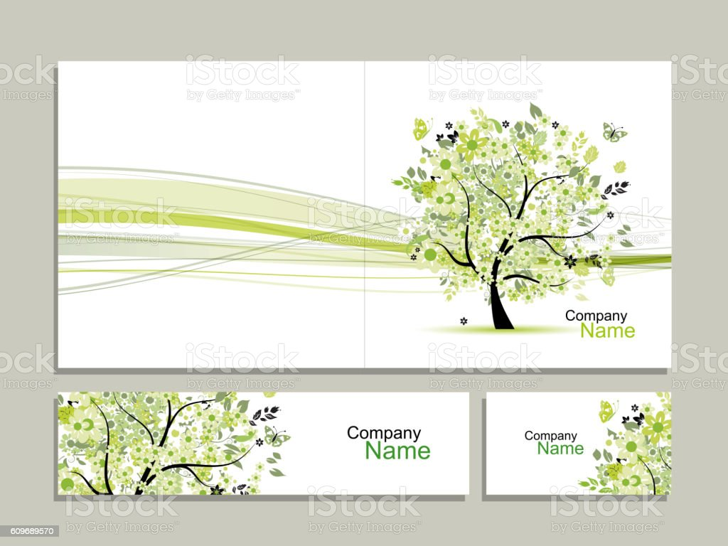Business card collection, abstract floral tree design vector art illustration