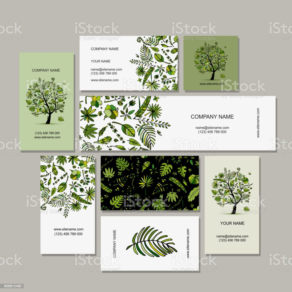 Business card collection, tropical tree design vector art illustration