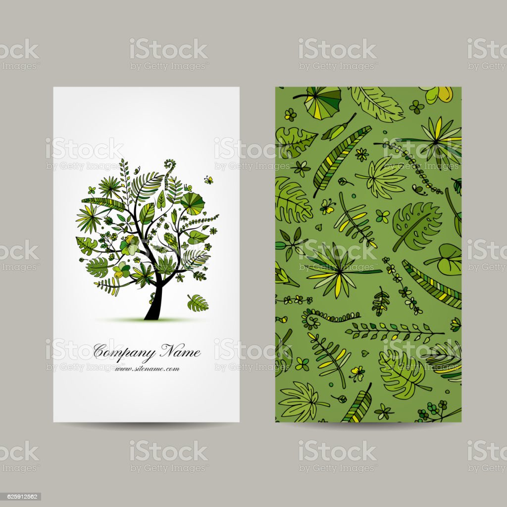 business card collection tropical tree design royalty free business card collection tropical tree design