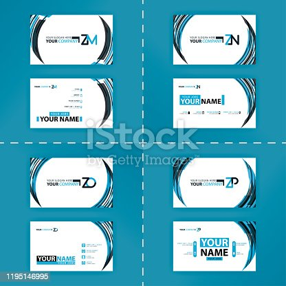 istock Business card colorful alphabet logo for promotion, marketing and advertising for companies, corporations, cooperatives and SME. suitable for print media, online ads, poster, flyer, banner, cover 1195146995