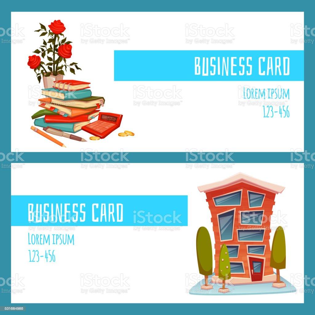 Concept De Carte Visite Avec Un Immeuble Bureaux Et Comptable Choses Vectoriel