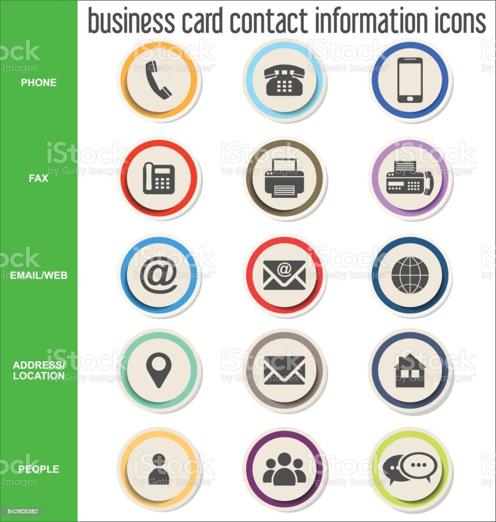 Business Card Contact Information Icons Collection Stock Vector ...