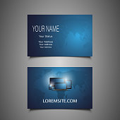 Modern Style Business Card Design, Front and Back View in Editable Vector Format