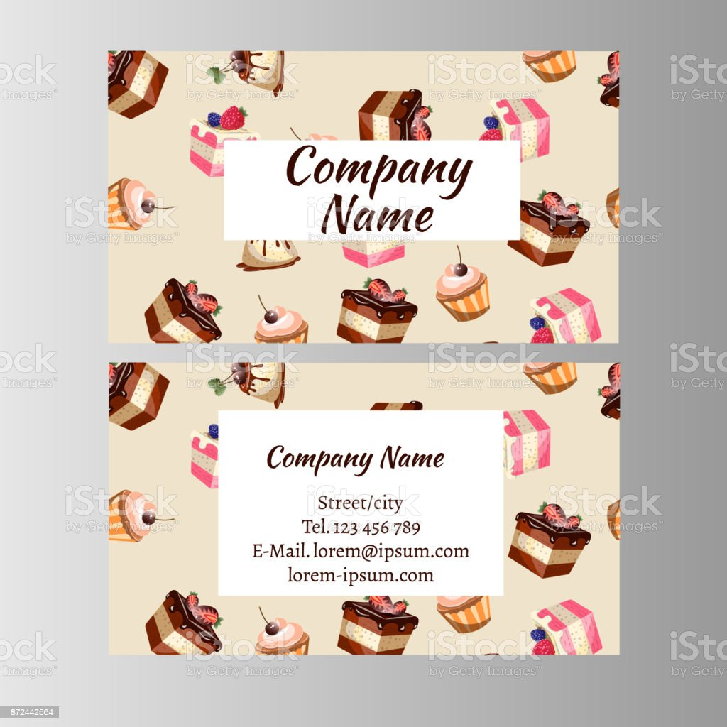 Business Card Design Template With Tasty Cakes Stock Vector Art ...