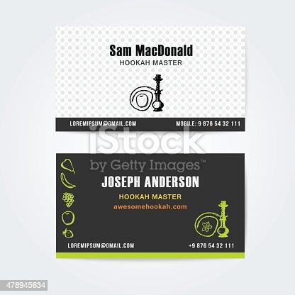 Business card design vektor vorlage der wasserpfeife - Shisha bar dekoration ...