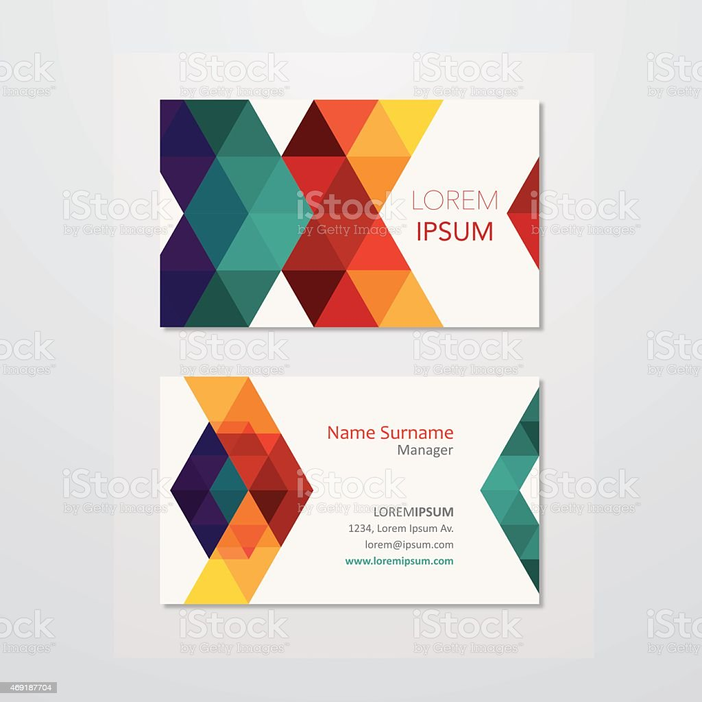 Business card design with colourful triangles vector art illustration