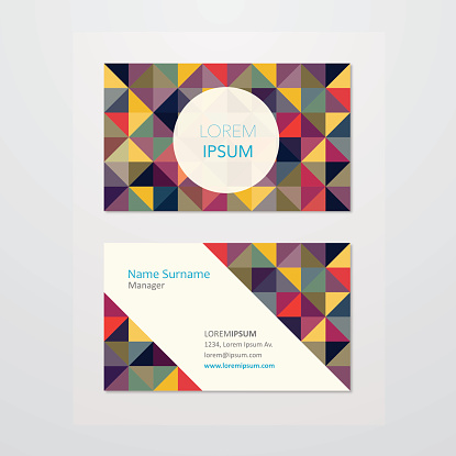 Business card design with mosaic background