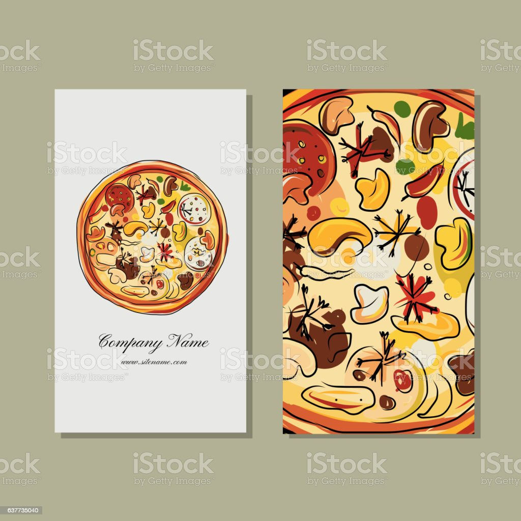 Business Card Design With Pizza Sketch Stock Vector Art & More ...