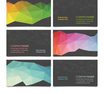 Business card design with polygon backgrounds
