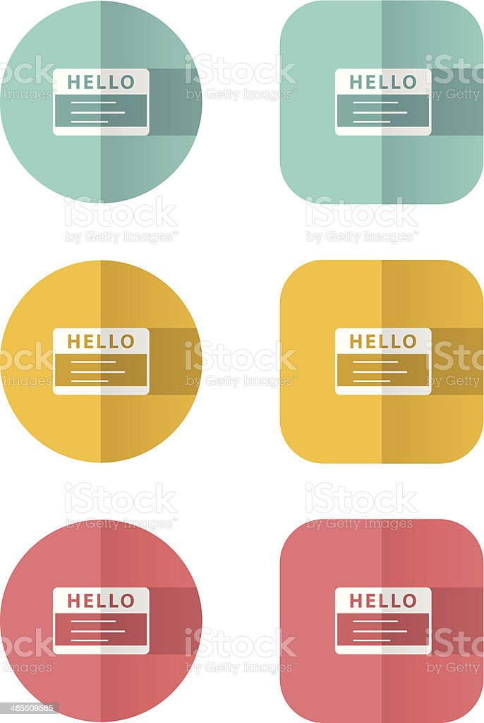 Business Card Flat Icon Set Stock Vector Art & More Images of Art ...