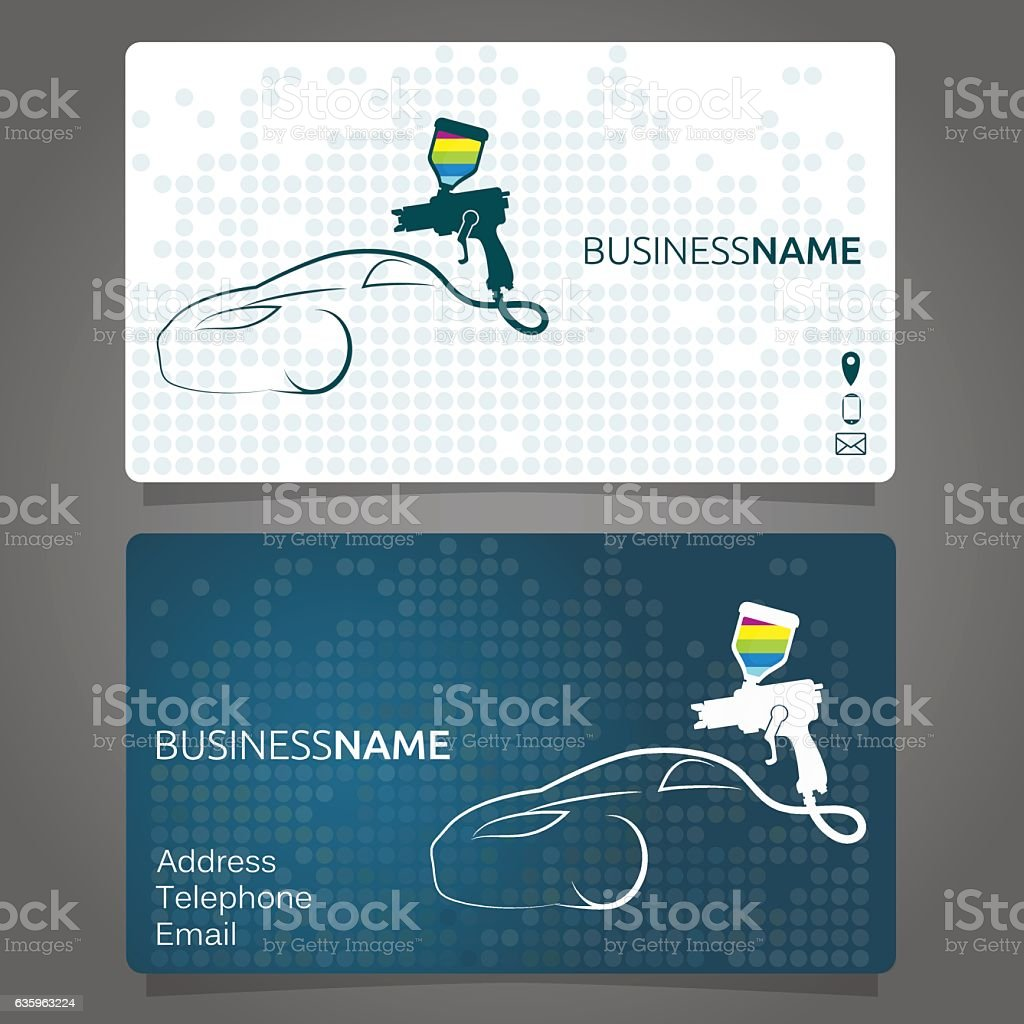 Business card for painting cars vector art illustration