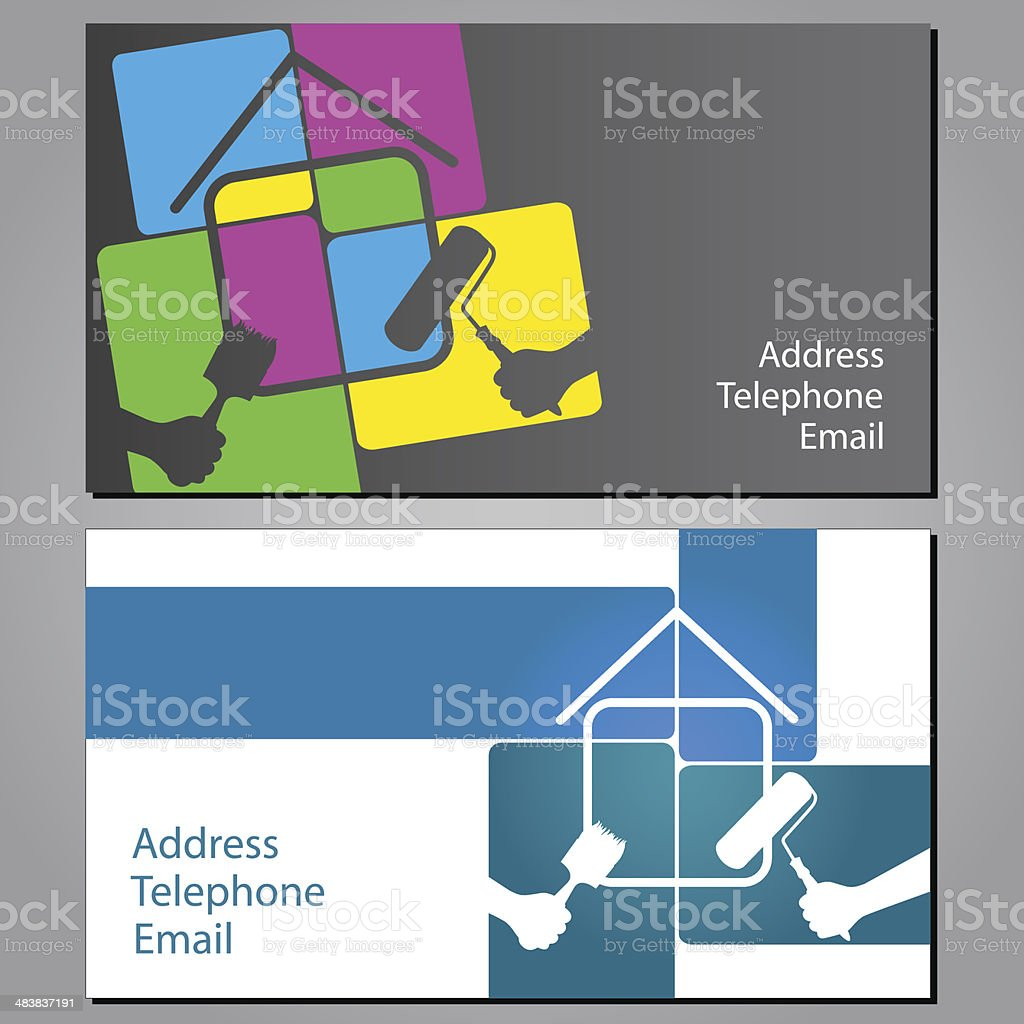Business card for painting houses vector art illustration