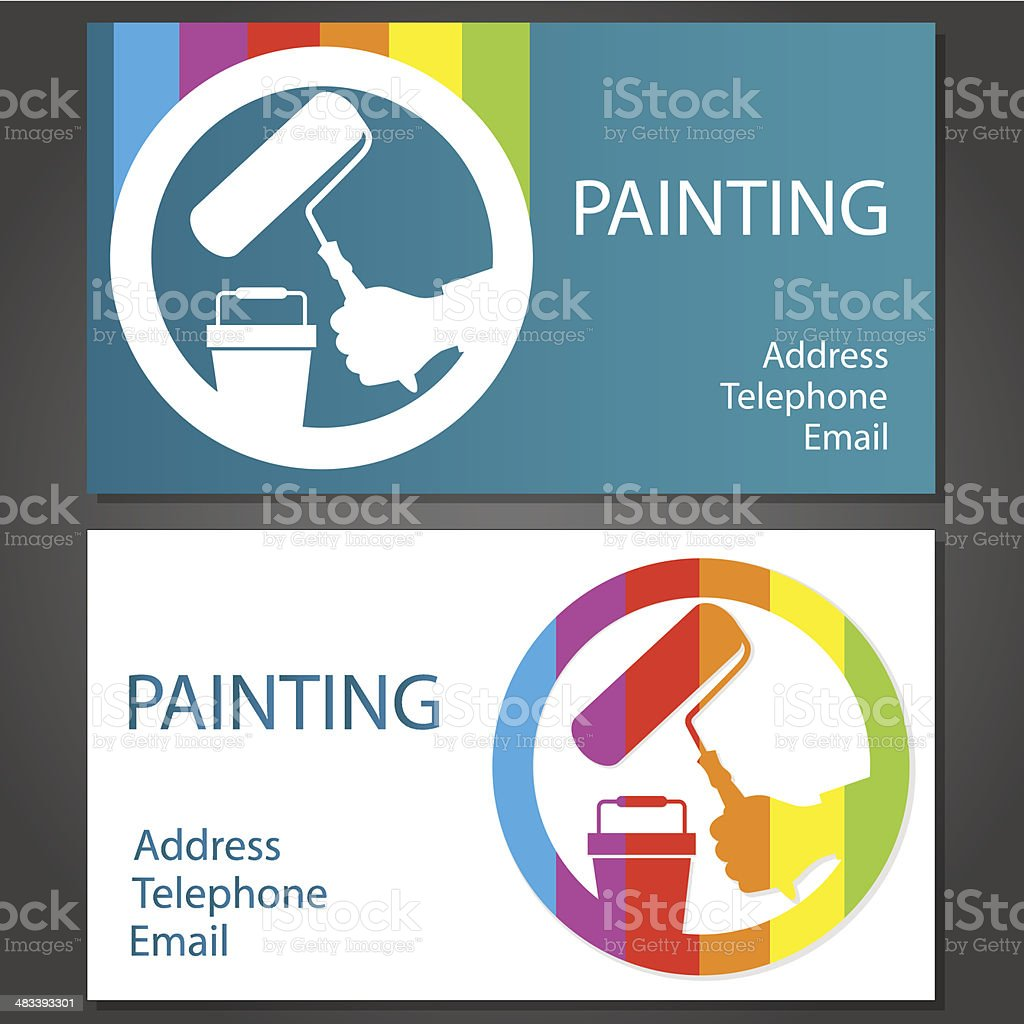 Business card for painting vector art illustration