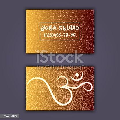 Business card for yoga studio or yoga instructor ethnic background business card for yoga studio or yoga instructor ethnic background with mandala ornament and ohm arte vetorial de stock e mais imagens de antigo 924761680 reheart Images