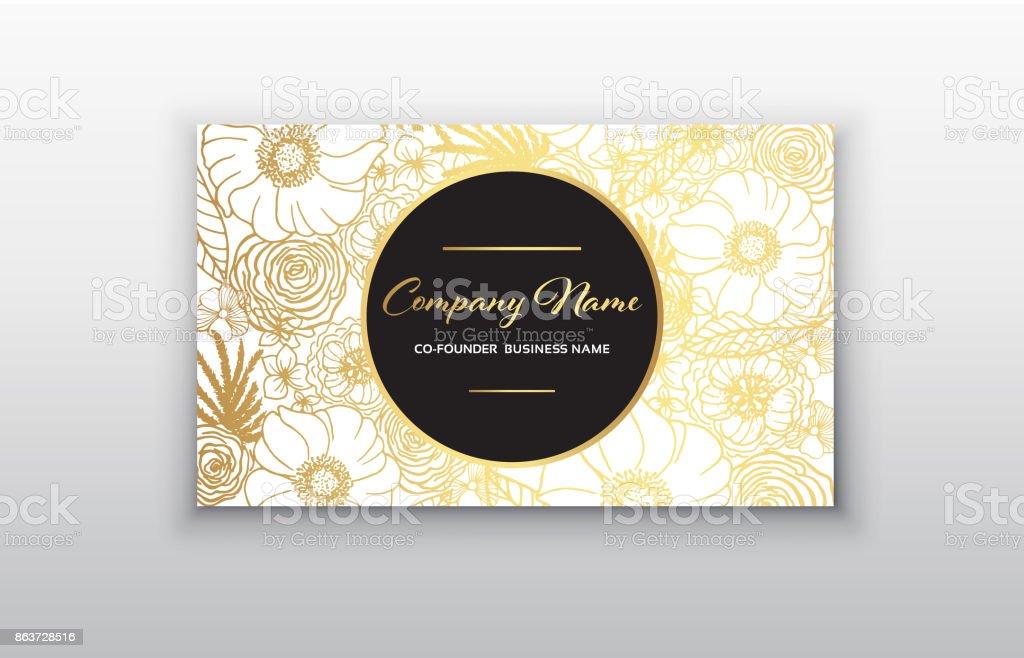 Carte De Visite Or Cadre Floral Conception Modle